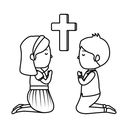 little kids kneeling with cross first communion vector illustration design