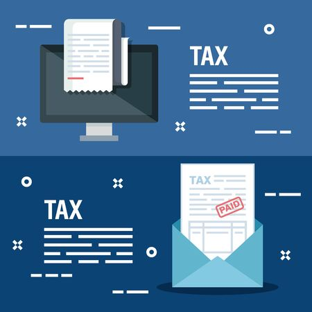 set computer with finance invoice report and card vector illustration