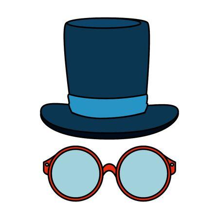 eyeglasses with tophat hipster style vector illustration design Foto de archivo - 126807803
