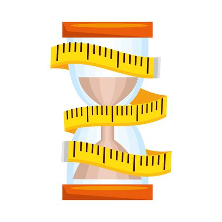 tape measure with hourglass vector illustration design