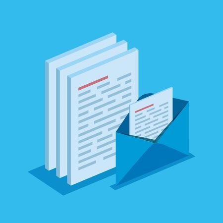 isometric documents information with digital letter vector illustration
