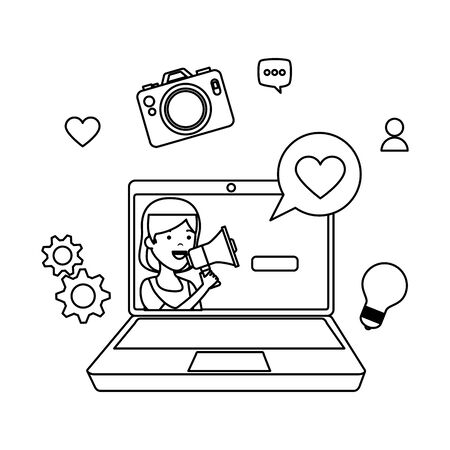 young woman in laptop with social media icons vector illustration design
