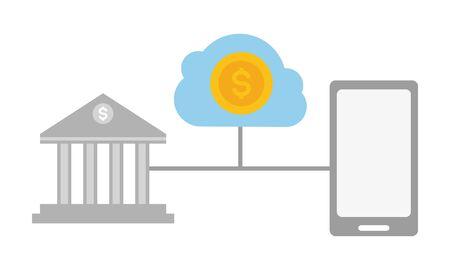 smartphone bank transaction money cloud storage online payment vector illustration Ilustrace