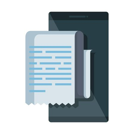 smartphone with receipt document vector illustration design