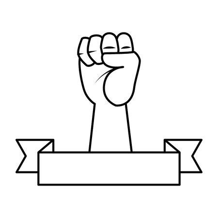 mano in alto pugno icona illustrazione vettoriale design Vettoriali