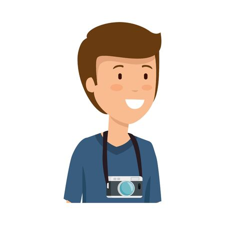 tourist man with camera photographic character vector illustration design Ilustrace