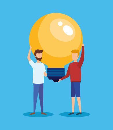 people with bulb light idea vector illustration design