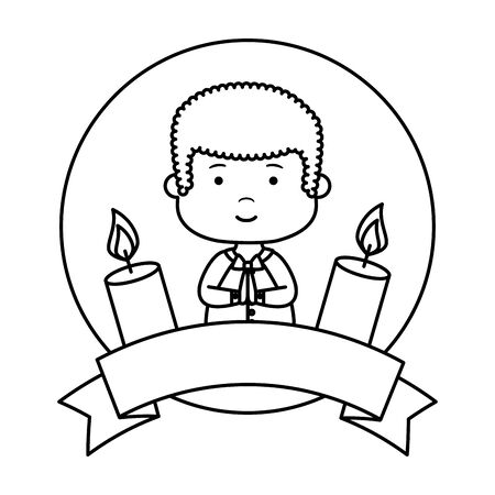 Little boy with ribbon and candles first communion