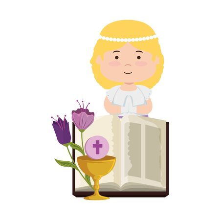 Little girl with bible and flowers first communion Banco de Imagens - 126967248