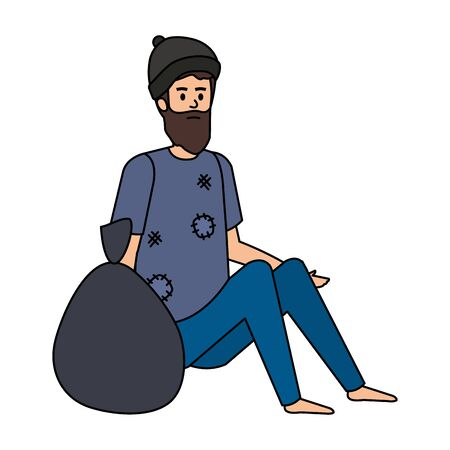 Homeless man with bag character Stock Illustratie