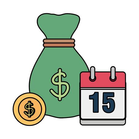Sack with coins dollars Illustration