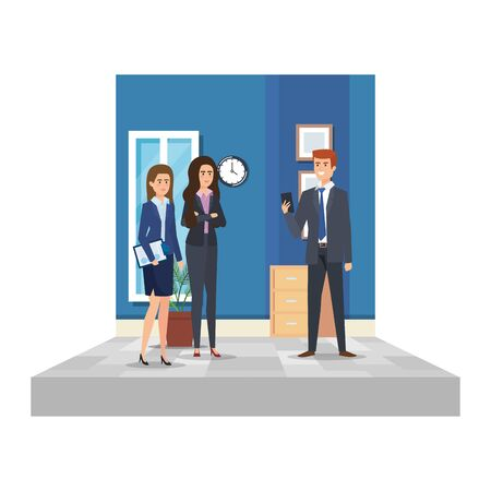 Business people in the office scene Illustration