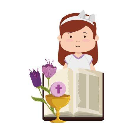 Little girl with bible and flowers first communion Illustration