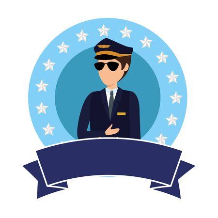 Aviation pilot avatar character Иллюстрация