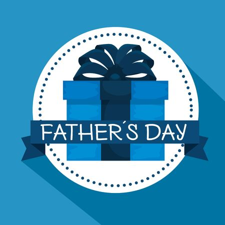 label with present and ribbon bow to fathers day vector illustration