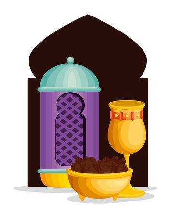 lamp with chalice and chocolate to ramadan kareem vector illustration