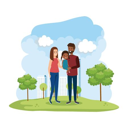 interracial parents couple with daughter in the park vector illustration design Illustration