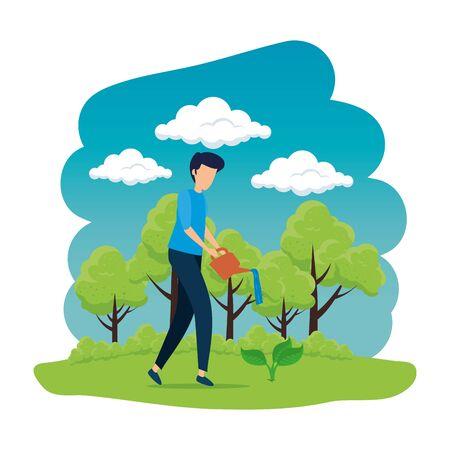 Joven plantando árboles, diseño de ilustraciones vectoriales Ilustración de vector