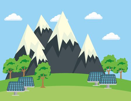 ecology snowy mountains with trees and solar energy vector illustration 向量圖像