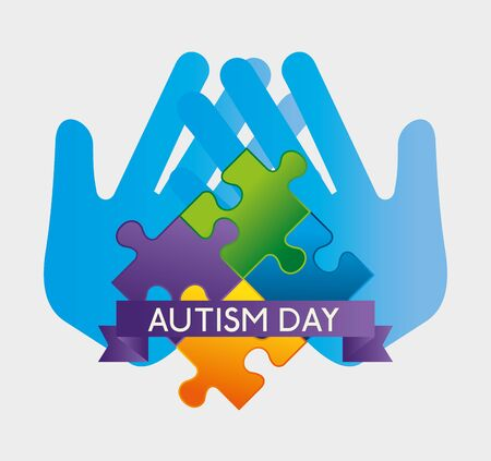 hands with puzzles and ribbon to autism day vector illustration