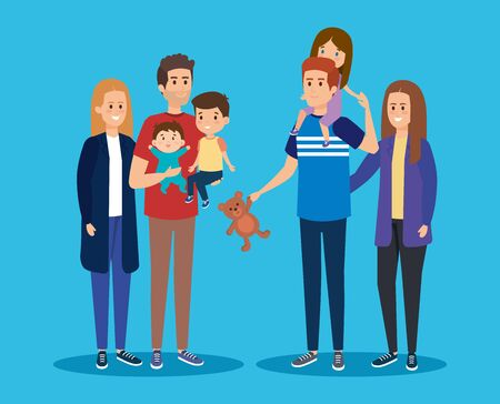 happy mothers and fathers friends with their kids vector illustration