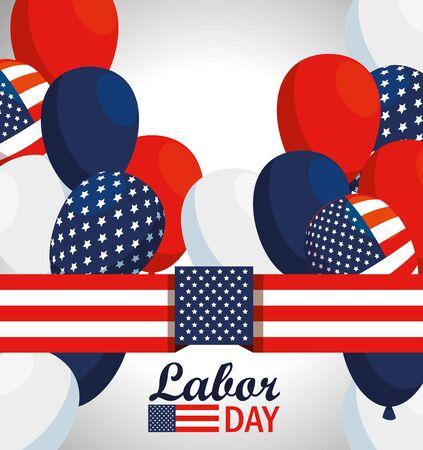 Bandera de Estados Unidos y globos para la celebración del día del trabajo ilustración vectorial Ilustración de vector