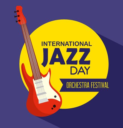 electric guitar instrument to jazz day vector illustration
