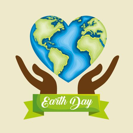 hands with heart planet conservation to earth day vector illustration Çizim
