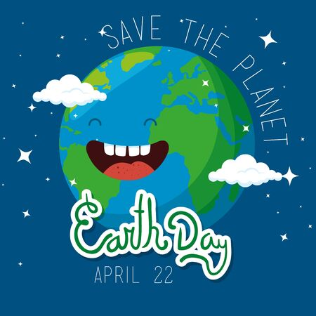 happy planet with eyes and mouth to earth day vector illustration Çizim