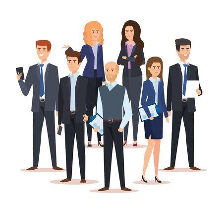 Ilustración de vector de éxito ejecutivo de mujeres empresarias corporativas y empresarios Ilustración de vector