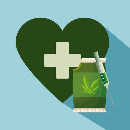 heart with cross and cannabis bag with syringe to natural medicine vector illustration