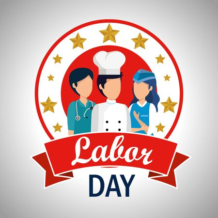 doctor with chef and stewardess to labor day vector illustration Ilustracja