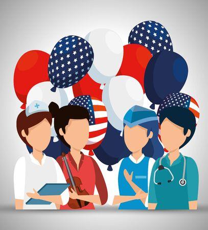 professional works with usa flag balloons vector illustration Ilustración de vector