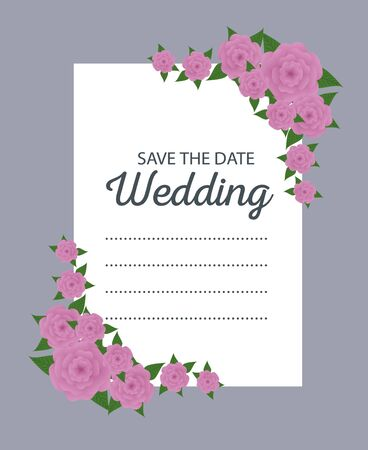 flowers with leaves to wedding card decoration vector illustration Standard-Bild - 126898199