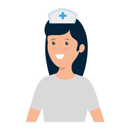 young nurse female worker character vector illustration design