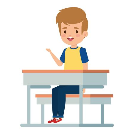 happy student boy seated in school desk vector illustration design Archivio Fotografico - 126892447
