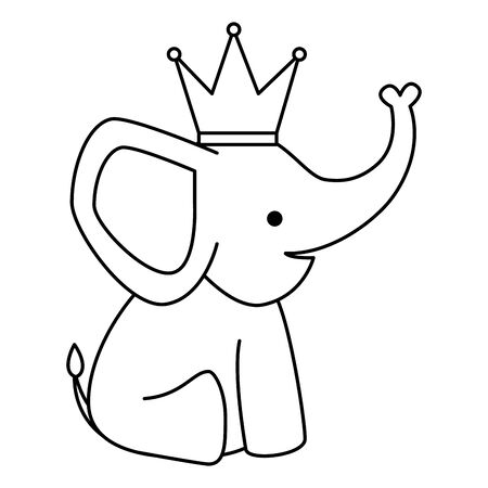 cute little elephant with crown character vector illustration design Banque d'images - 126914241