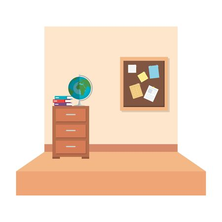 school classroom with with drawer and world map vector illustration design