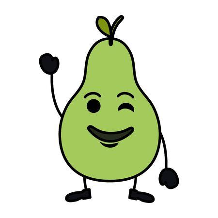 pear fresh fruit kawaii character vector illustration design