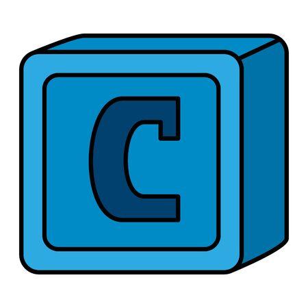 alphabet block toy baby with letter c vector illustration design Ilustração