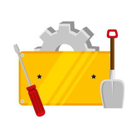 metal plate with screwdriver and tools vector illustration design