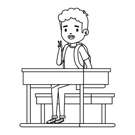 happy little student boy seated in school desk vector illustration design Archivio Fotografico - 126981870