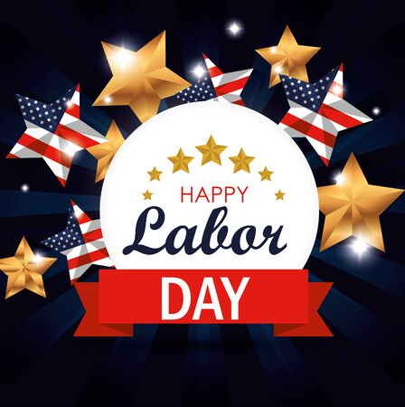 label with usa flag stars to labor day celebration vector illustration Çizim