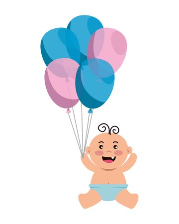 cute little baby boy with balloons helium vector illustration design