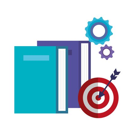 target arrow success with book and gears vector illustration design