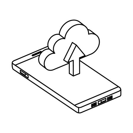 smartphone with cloud computing and arrow upload vector illustration design Ilustração