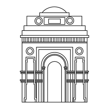 indian gate arch monument icon vector illustration design 向量圖像