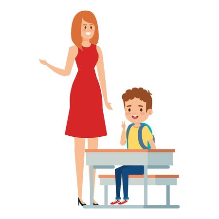 student boy seated in school desk with female teacher vector illustration design