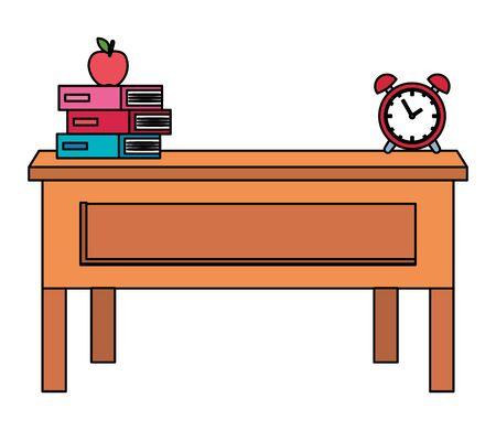 teacher school desk with books and alarm clock vector illustration design