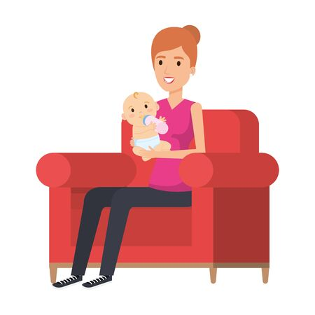 mother lifting little baby seated in sofa vector illustration design Archivio Fotografico - 127061415